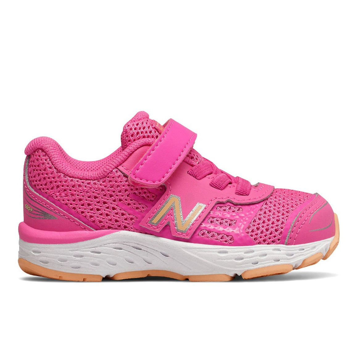 New Balance Infant's 680v5 Tennis Shoe - Pink/Mango IA680MP - ShoeShackOnline