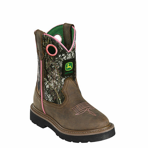 John Deere Girl's Camo Boots - Dark Brown/Mossy Oak JD2198 - ShoeShackOnline