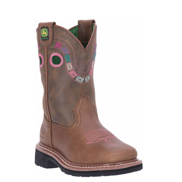 John Deere Girl's Square Toe Western Boots - Brown JD2344 - ShoeShackOnline