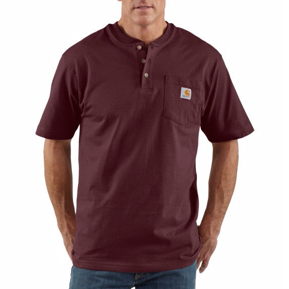 Carhartt Men's Short Sleeve Workwear Henley - Port K84 - ShoeShackOnline