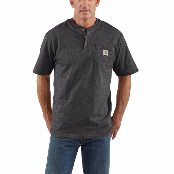 Carhartt Men's Short Sleeve Workwear Henley - Carbon Heather K84 - ShoeShackOnline