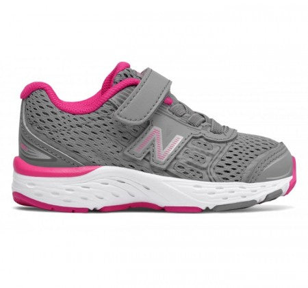 New Balance Infant Girl's 680v5 Tennis Shoe - Gray/Pink KA680SSI - ShoeShackOnline