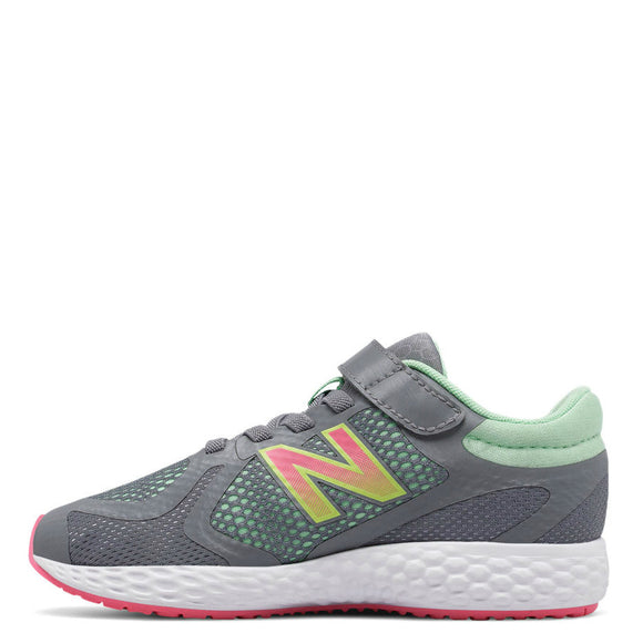New Balance Kid's Hook & Loop 720v4 Sneaker - Grey/Pink/Mint KV720GGY - ShoeShackOnline