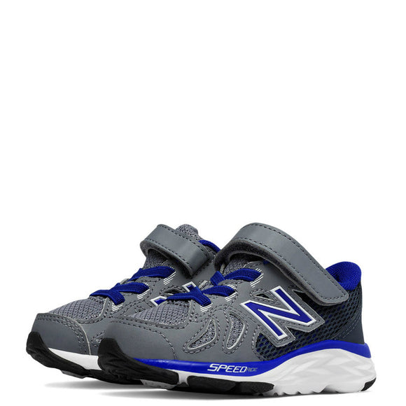 New Balance Kid's Hook & Loop 790v6 Sneaker - Grey/Blue KV790GMI - ShoeShackOnline