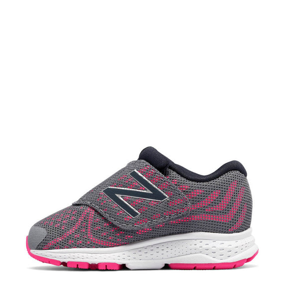New Balance Infant Girl's Hook & Loop Vazee Rush v2 - Grey with Pink Zing KVRUSGUI - ShoeShackOnline