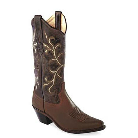 Old West Women's Embroidered Snip Toe Western Boots - Brown LF1571 - ShoeShackOnline