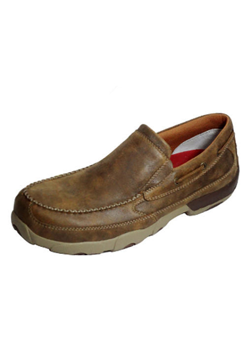 Twisted X Men's Composite Toe Slip On Driving Moccasin - Bomber MDMSC03 - ShoeShackOnline