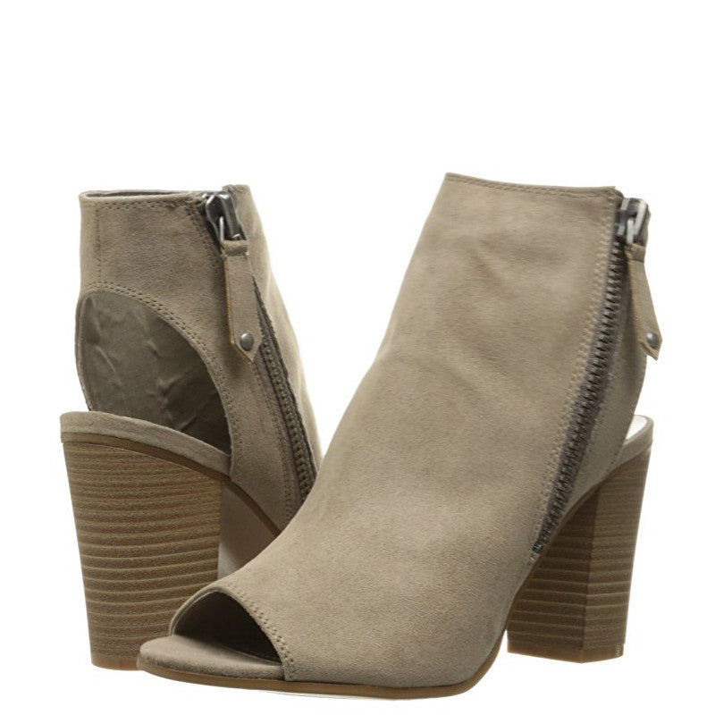 Madden Girl Women's Ninaaa Peep Toe Boot - Taupe