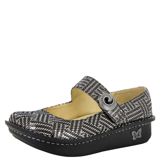 Alegria Women's Paloma Mary Jane - Pewter Dazzler PAL-532 - ShoeShackOnline