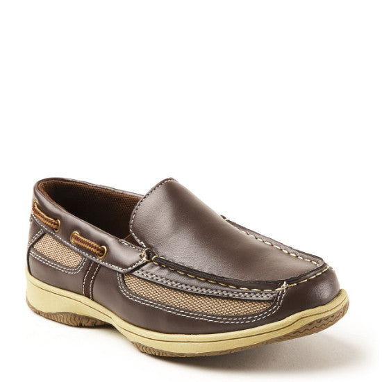 Deer Stags Boy's Pal Slip On Boat Shoe - Dark Brown - ShoeShackOnline