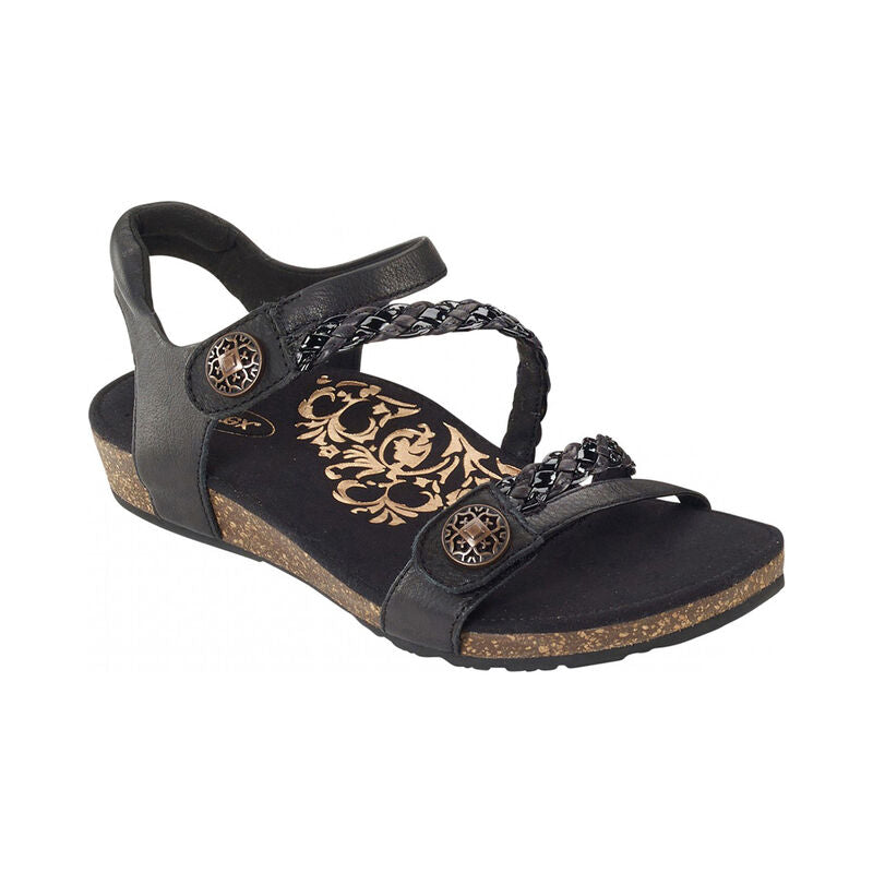 Aetrex Women's Jillian Braided Quarter Strap Sandal - Black SC450W - ShoeShackOnline