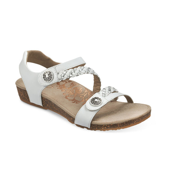 Aetrex Women's Jillian Braided Quarter Strap Sandal - White SC453W - ShoeShackOnline
