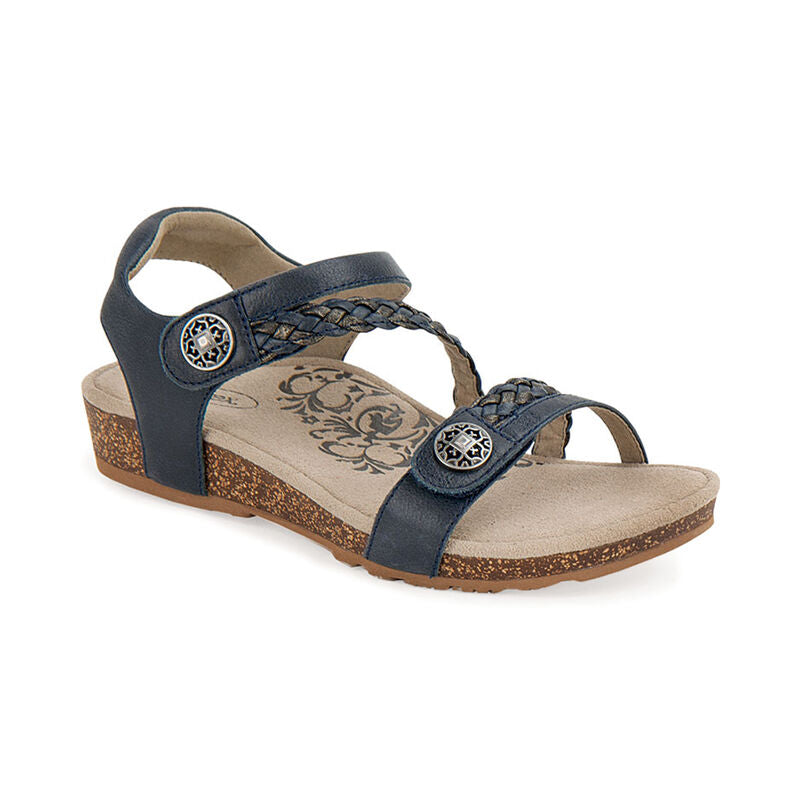 Aetrex Women's Jillian Braided Quarter Strap Sandal - Navy SC461W - ShoeShackOnline