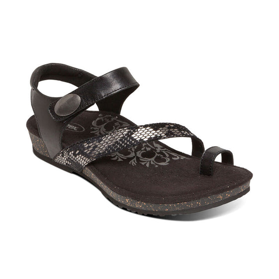 Aetrex Women's Georgia Toe Loop Sandal - Black SC710W - ShoeShackOnline