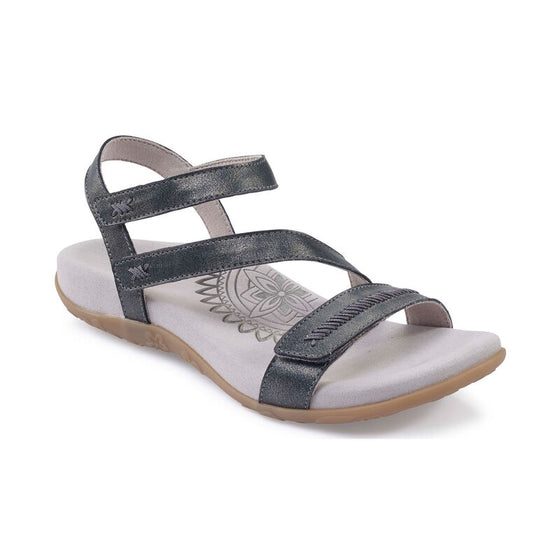 Aetrex Women's Gabby Adjustable Sandal - Pewter SE266W - ShoeShackOnline
