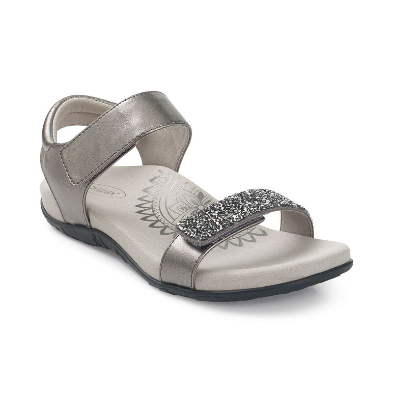 Aetrex Women's Maria Jeweled Quarter Strap Sandal - Gunmetal SE283W - ShoeShackOnline