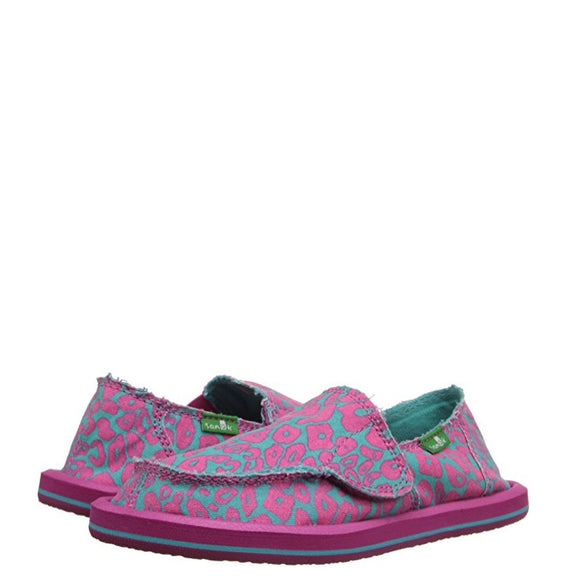 Sanuk Toddler's I'm Game - Pink/Turquoise Cheetah SGF1064T