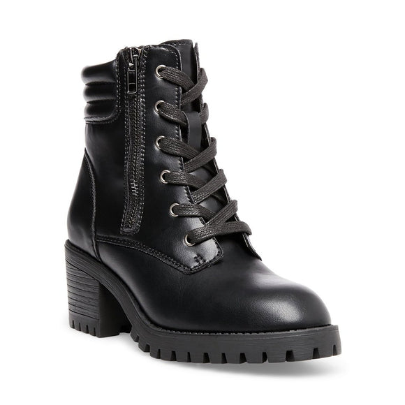 Madden Girl Women's Hushh Heeled Combat Boot - Black