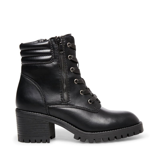 Madden Girl Women's Hushh Heeled Combat Boot - Black HUSH01J1 - ShoeShackOnline