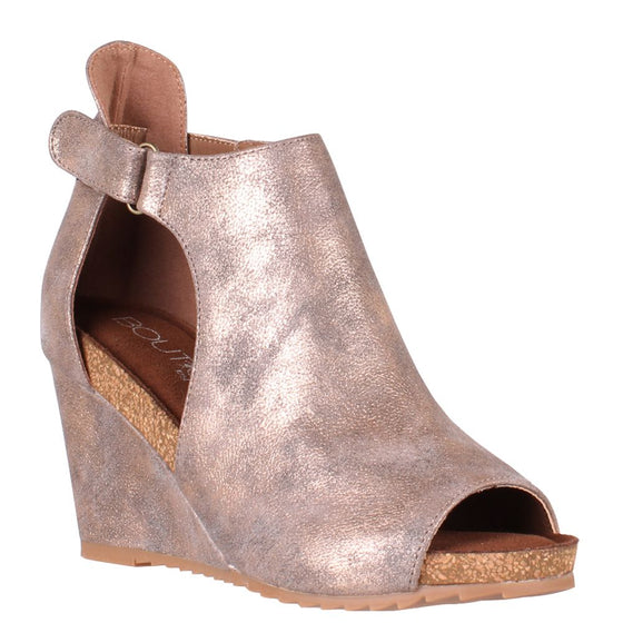 Corkys Women's Sunburst Peep Toe Wedge Bronze 30-5333