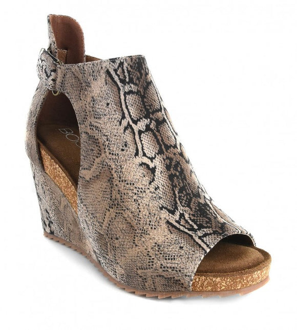 Corkys Women's Sunburst Peep Toe Wedge Brown Snake 30-5333