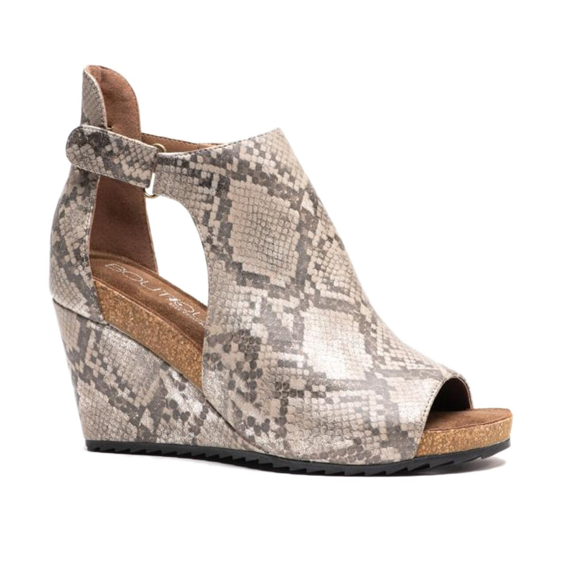 Corkys Women's Sunburst Peep Toe Wedge Taupe Snake 30-5333