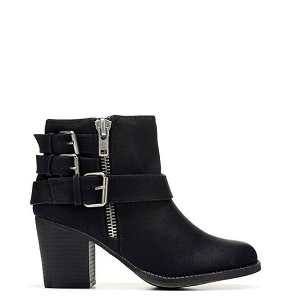 Madden Girl Women's Wileey Buckle Bootie - Black