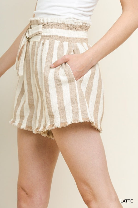Umgee Women's Striped High Waisted Linen Shorts