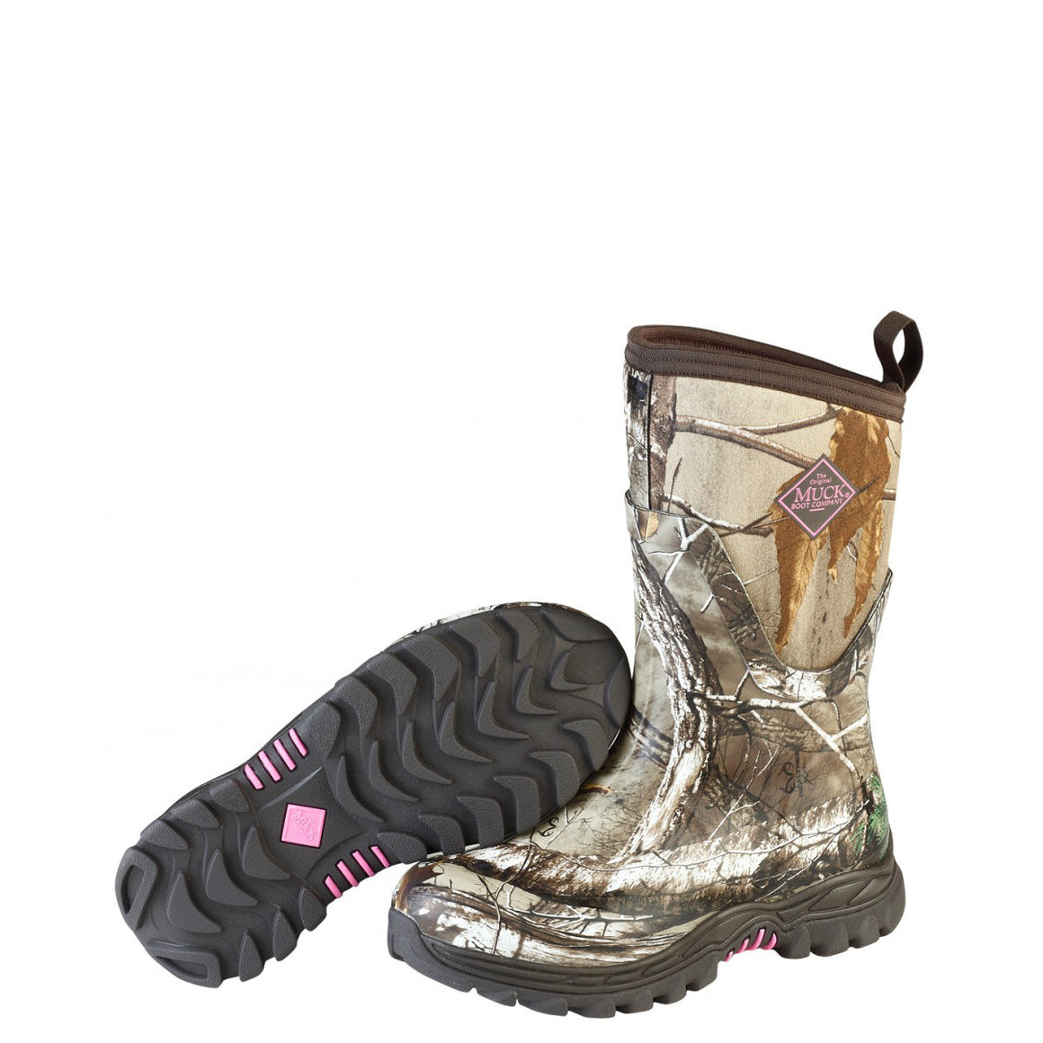 Muck Boots Women's Arctic Hunter Mid Boot - Bark/Realtree Xtra/Phlox Pink AHM-4RTAP