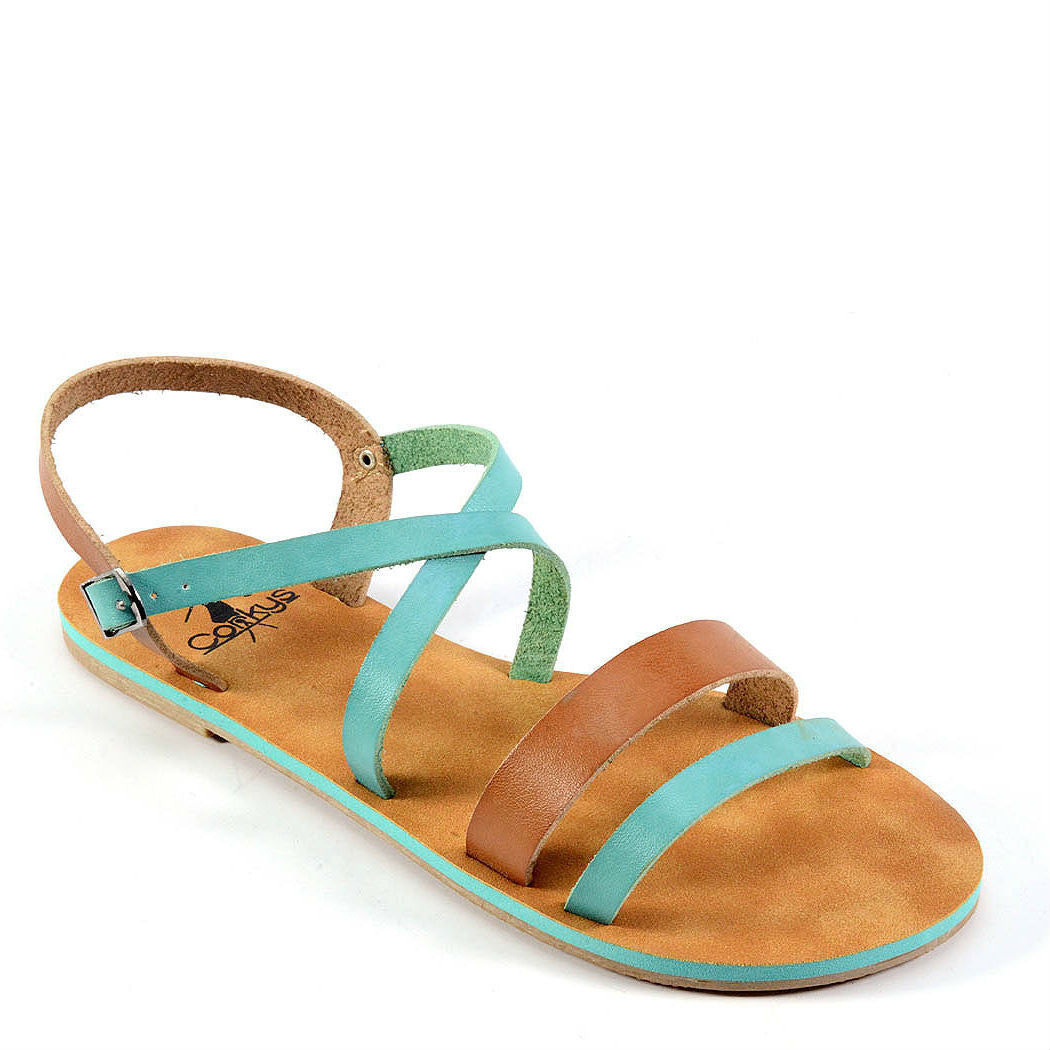 Corkys Women's Cabos | Aqua/Tan 40-3105 - ShoeShackOnline