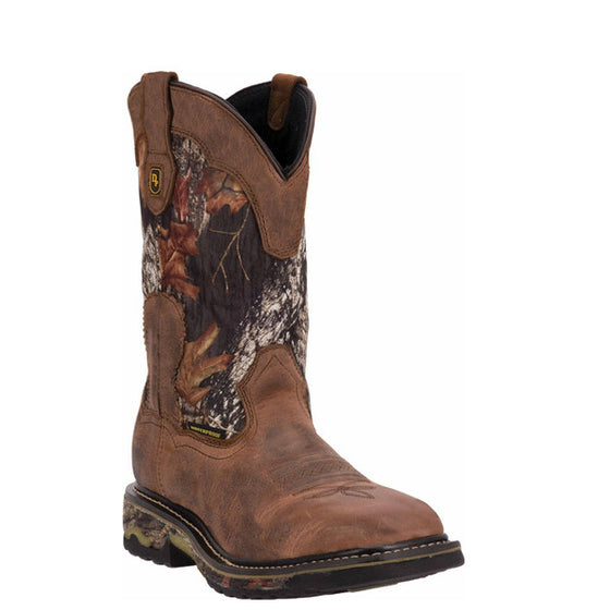 "Dan Post Men's Hunter 11"" Work Boot - Saddle Tan/Mossy Oak DP69408 - ShoeShackOnline"