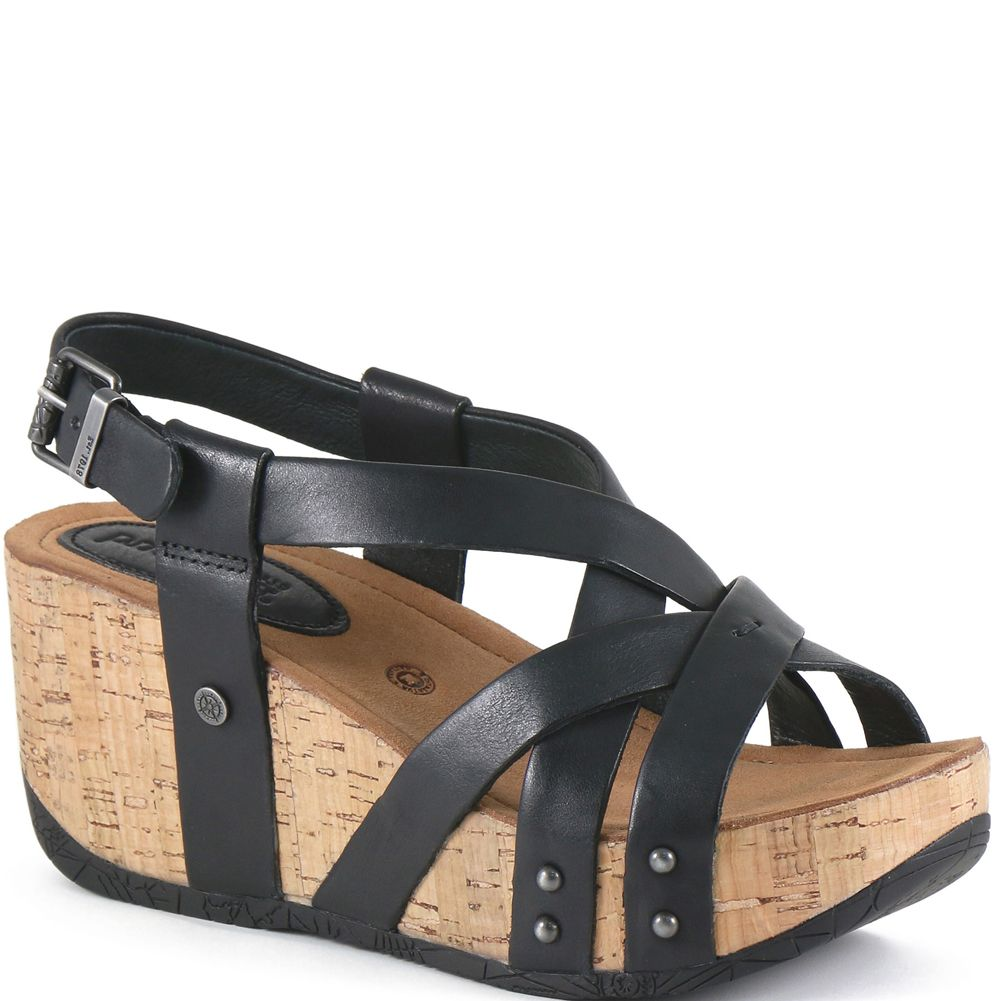 Bussola Women's Leather Fabia Wedge Strap Sandal - ShoeShackOnline