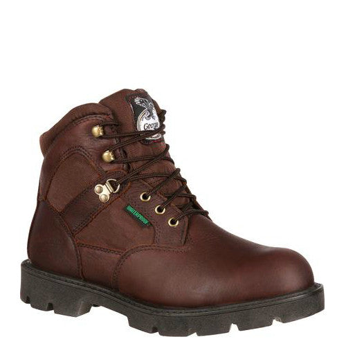 "Georgia Men's 6"" Homeland Waterproof Work Boot - Brown G106 - ShoeShackOnline"
