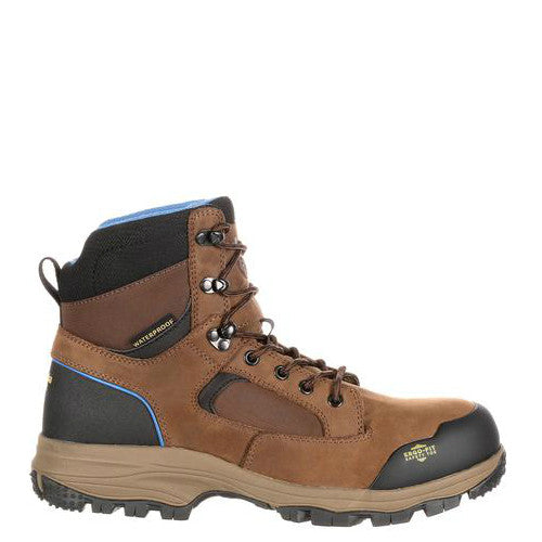"Georgia Men's 6"" Blue Collar Composite Toe Waterproof Work Hiker - Dark Brown GB00108 - ShoeShackOnline"