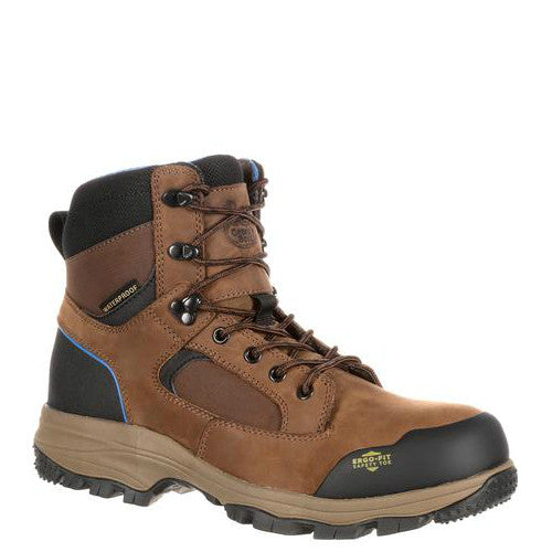 "Georgia Men's 6"" Blue Collar Composite Toe Waterproof Work Hiker - Dark Brown GB00108"