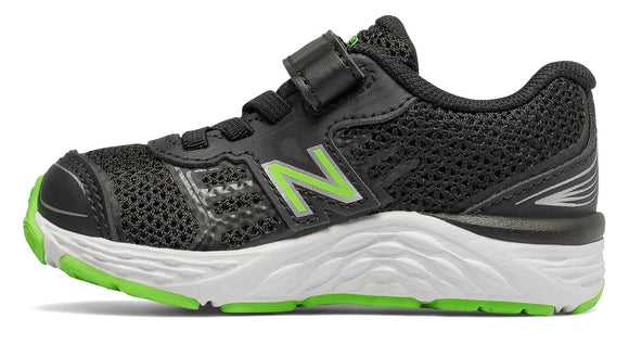 New Balance Infant's 680v5 Tennis Shoe - Black/Green IA680BG - ShoeShackOnline