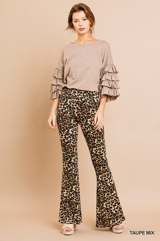 Umgee Women's Animal Flare Pants