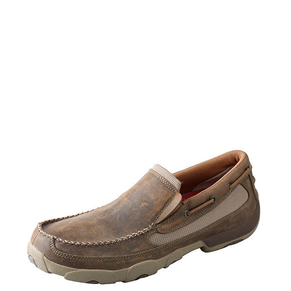 Twisted X Men's Slip-On Driving Moccasin - Bomber MDMS002 - ShoeShackOnline