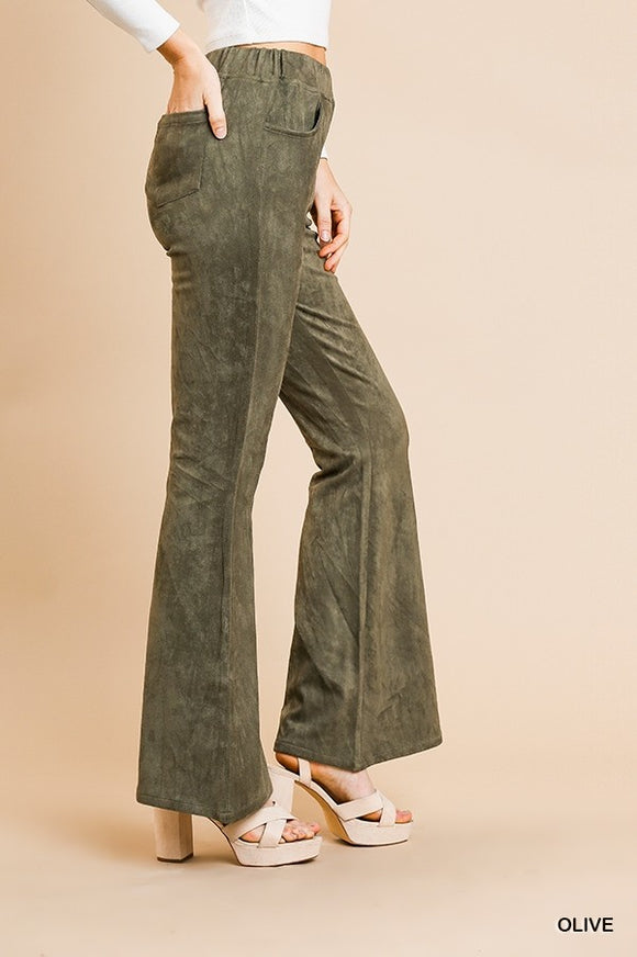 Umgee Women's High Waist Suede Fabric Flare Pants
