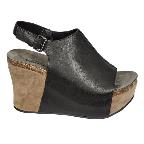 Pierre Dumas Women's Hester-14 Peep Toe Wedge Black 22617-101