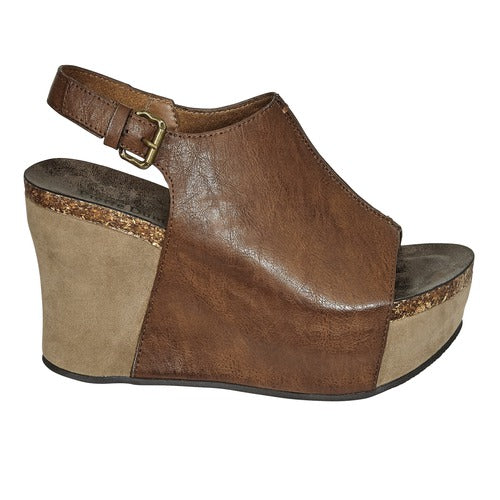 Pierre Dumas Women's Hester-14 Peep Toe Wedge Whiskey 22617-135