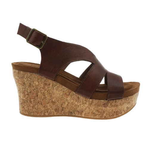 Pierre Dumas Women's Sweep-2 Wedge Sandal Whiskey 22632-135