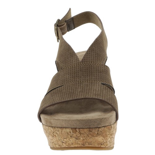Pierre Dumas Women's Sweep-2 Wedge Sandal Taupe 22632-734