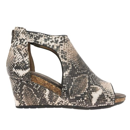 Pierre Dumas Women's Podium-5 Peep Toe Wedge Taupe Combo 22361-646