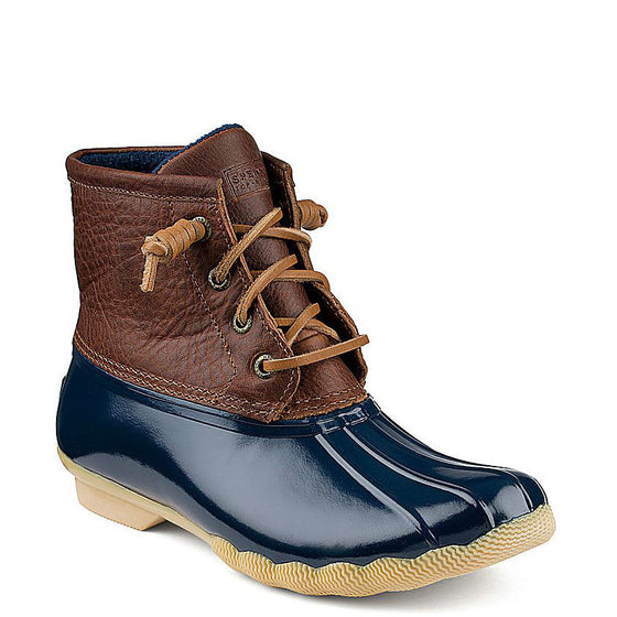 Sperry Women's Saltwater Duck Boot - Tan/Navy STS91175 - ShoeShackOnline