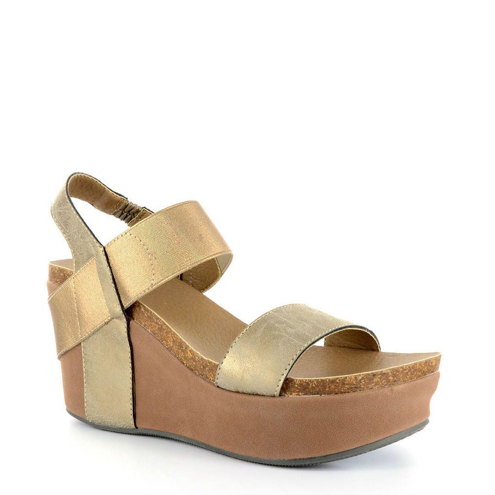 Corkys Women's Wedge | Brushed Gold 30-5229 - ShoeShackOnline