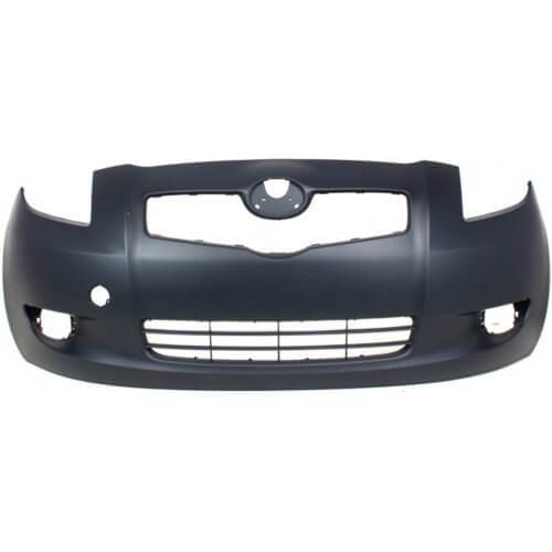 2007-2011 Toyota Yaris Front Bumper; Sedan-  All Models, Except S Models; w_ or w_o Fog Lights; w_o Spoiler Holes; TO1000321; 5211952934