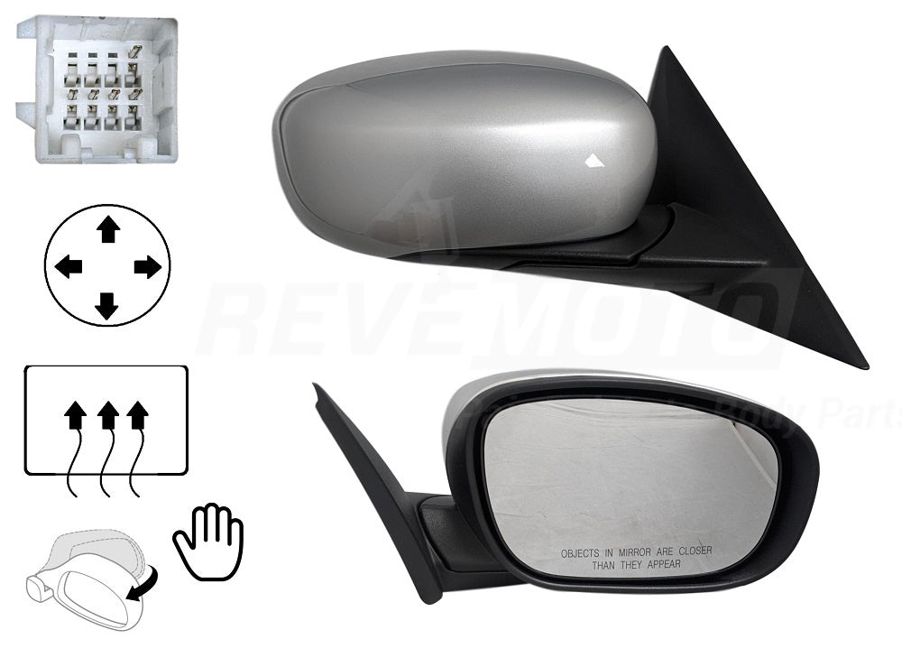 2005-2008 Chrysler 300 Mirror (Driver Side); Power; Heated ; Manual Folding; w/o Memory; CH1320231; XB811XRAK