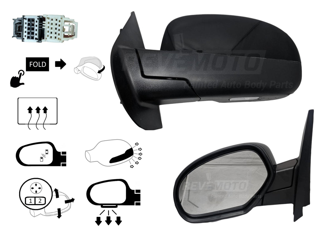 2007-2014 Cadillac Escalade Driver Side Door Mirror (OEM; Heated; w/ Memory; w/ Signal; w/ Puddle Light; Power; Power Folding) 25831078