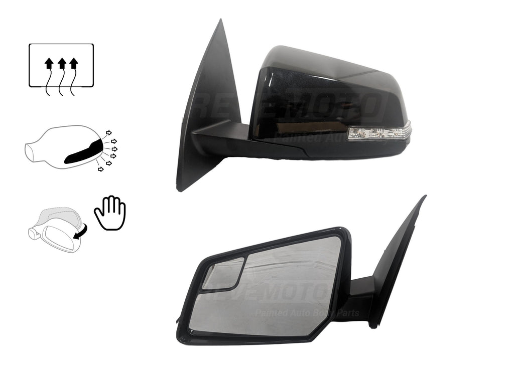 2011 Chevrolet Traverse Side View Mirror Painted Carbon Flash Metallic (WA501Q), Heated _ With Turn Signal (Manual Folding)_20879274